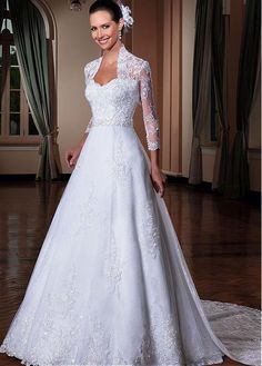 lace wedding dress Picture - More Detailed Picture about Vestidos De Noivas Detachable Train A line Modest Long Sleeve Lace Wedding Dress With Jacket Bridal Gown Vestido De Casamento Picture in Wedding Dresses from wuzhiyi Bridaldress Store Kate Wedding Dress, Making A Wedding Dress, Bridal Party Dresses, V Neck Wedding Dress, Long Sleeve Wedding, Princess Wedding Dresses, Modest Wedding Dresses, Cheap Wedding Dress, Bridal Gowns