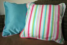Pair of striped 16 cushion covers by BlossomvioletCrafts on Etsy #etsyspecialt #handmade #cushioncovers