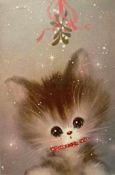 Norcross Kitty Cat Under Mistletoe-Vintage Christmas Card-Greeting I remember these illustrations, sigh Images Vintage, Vintage Christmas Images, Old Christmas, Old Fashioned Christmas, Retro Christmas, Vintage Holiday, Christmas Pictures, Christmas Kitty, Christmas Paper