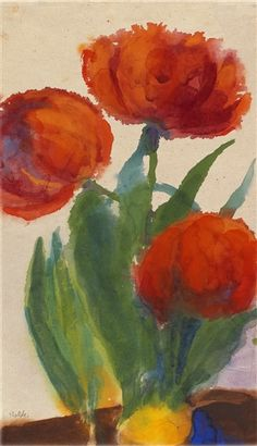 Artwork by Emil Nolde, Drei rote Tulpen, Made of Watercolor Emil Nolde, Watercolor Artists, Watercolor Flowers, Watercolour, Garden Painting, Painting & Drawing, Guache, Global Art, Art Market