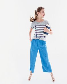 J.Crew women's linen embroidered tassel striped tee, Collection cropped linen pant, woven striped clutch and ringed gladiator high-heel sandals.
