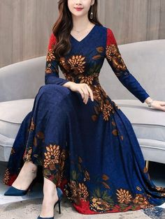 Blue V Neck Floral Dress Elegant Ladies Midi Vestido Long Sleeves Big Swing Plus Size Autumn Dresses High Quality Vintage Casual Cheap Maxi Dresses, Stylish Dresses, Elegant Dresses, Beautiful Dresses, Casual Dresses, Fashion Dresses, Sexy Dresses, Formal Dresses, Wedding Dresses