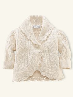 Cabled Shawl-Collar Coat - Tops & Bottoms  Layette Girl (Newborn-9M) - RalphLauren.com