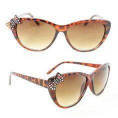 2fbc599cd2fd Cateye Cute Rhinestone Sunglasses 7070 Brown Leopard Butterfly Amber  Gradient Lens by Cuffu Online.  9.99