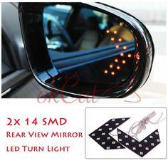 2Pcs 14 SMD LED Arrow Panel For Car Rear Mirror Indicator Turn Signal Light