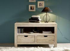 Lowboard der Serie NATURE WHITE aus Akazienholz, weiß lackiert. Diese Möbel schaffen helle und freundliche Wohnatmosphäre! #möbel #woodwork #homeinterior #interiordesign #homedecor #akazie #lowboard #schrank #buffet #anrichte #massivmoebel24