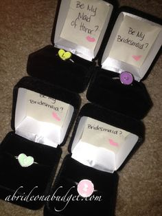 Ring boxes could make interesting invites for bridesmaids.