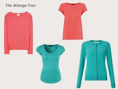 A 4 by 4 Wardrobe in Coral, Turquoise, Black and Grey