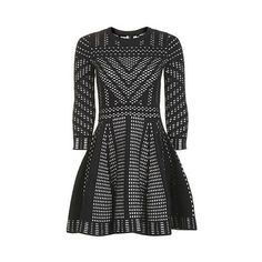TopShop Geometric Pattern Fit and Flare Knitted Dress ($130) ❤ liked on Polyvore featuring dresses, monochrome, geo dress, night out dresses, geo print dress, day party dresses and geometric pattern dress
