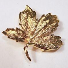 Vintage Napier Gold Tone Leaf Pin Figural by GretelsTreasures #vogueteam #etsygift