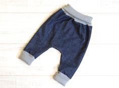 Baby organic denim pants. Toddler harem pants. Comfy by kandatsu.