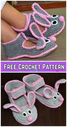 Crochet Women Bunny Slippers Patrón de ganchillo gratis y pago - Lidia Crochet Tricot, Gilet Crochet, Crochet Baby Booties, Crochet Slippers, Baby Blanket Crochet, Knit Crochet, Ravelry Crochet, Crochet Slipper Boots, Felted Slippers