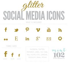 Glitter social media icons by Mint 102 Event Branding, Business Branding, Business Design, Bakery Branding, Branding Ideas, Business Cards, Wedding Invitation Fonts, Content Marketing, Digital Marketing