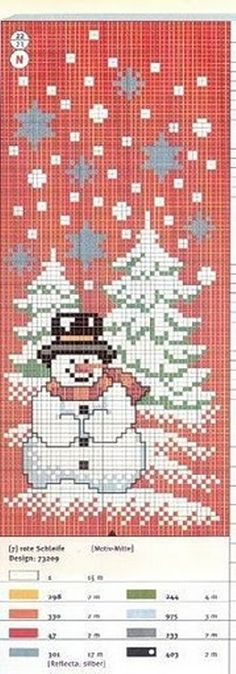 Points de croix *@*  Winter snowman scene