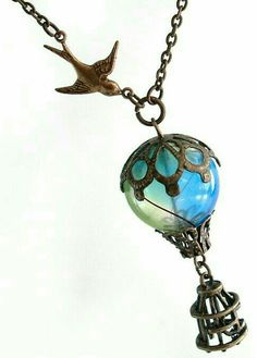 Beautiful neckless with bird and air balloon