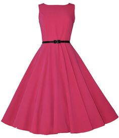 Vintage Classic Audrey 40's 50's Hepburn Pink Swing Jive Dress UK Made New 8-20