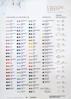 Official Swarovski Crystal Bead Color and Shape by BestBuyDesigns,.This is the most up-to-date color chart in production from Swarovski. It features samples of 4mm bicone SWAROVSKI ELEMENTS in both Classic and Exclusive colors (68 colors), with and without an AB finish. How have you lived without this?