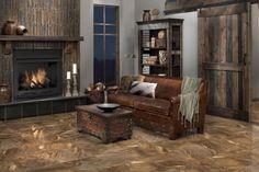 Floor: Grand Canyon Copper Ceramic Tile |  Fireplace Wall: Multi-colored Stick Slate Mosaic Tile | Fireplace bottom: Virginia Spring Slate Tile