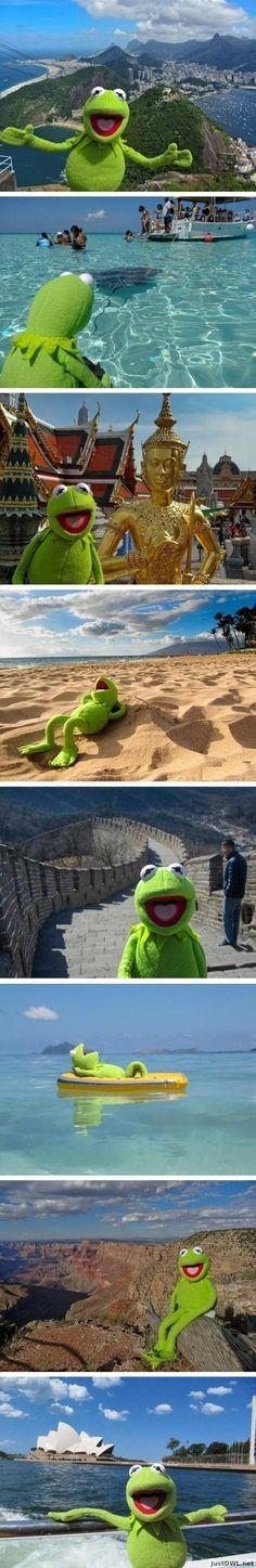Kermit travels the world.