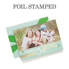 Pure Merriment - Foil Stamped Holiday Cards by Jill Smith for Tiny Prints in Basil Green