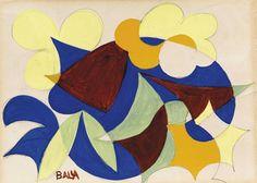 Giacomo Balla (1871-1958) Fiori + Cielo 1925 (16,3x22,6 cm)