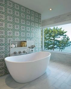 Hamptons House Master Bathroom | An entire wall of decorative tile to compliment the serene ocean view & palette. Bathroom Spa, Master Bathroom, Hamptons House, The Hamptons, Edwardian House, Relax, Bathroom Interior Design, Beautiful Bathrooms, Bathroom Inspiration