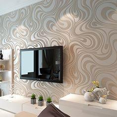 Moderne Luxus Abstrakt Kurven Glitzer Vlies 3D Struktur Tapete für Schlafzimmer Wohnzimmer TV Hintergrund Wand Wandmalereien creme weiß, Elfenbeinfarben, 1 roll