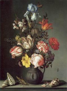 Balthasar van der Ast - Flowers in a Vase with Shells and Insects 1630 oil on oak National Gallery, London