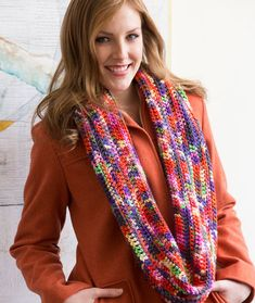 Rev Up the Color Cowl Free Crochet Pattern from Red Heart Yarns