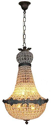 """Egypt gift shops 20""""Wx60""""Hx20""""D French Empire Antique Replica Basket Cage Crystal Dome Aged Bronze Finish Brass Chandelier Lamp"""