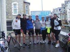 The hardcore members of the Moonpig team preparing themselves to cycle from Newquay to London!