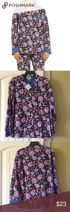 🆕VERA BRADLEY PJ TOP (Sz S & M) Vera Bradley Pajama Alphonse Floral top. It's very beautiful and comfortable with floral design in blue and black print. The material is 100% cotton. It has blue and black stripe design on the sleeves. Front buttons and full sleeves. BRAND NEW WITH TAG. Vera Bradley Intimates & Sleepwear Pajamas
