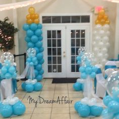 Twins & Co. Babyshower Decorations! Tiffany Co Inspired... So spread the word @mydreamaffair today!!! #mydreamaffair #humble #honored #blessed #grateful #thankful #mydreamaffair #centerpiece #diamonds #eventplanning #planner #events #party #graduation #birthday #babyshower #balloons #ballooncolumns baby bottle balloons