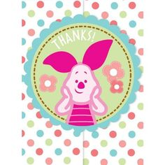 Winnie the Pooh Baby Shower Thank You Notes 8 Count with Piglet by Amscan. $5.39. Disney Winnie the Pooh Baby Shower Party Supplies. 8 Sticker Seals. 8 Envelopes. 8 Folded Thank You Cards. 8 Thank You Notes with Envelopes