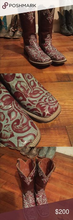 Flashy dan post cowboy boots Gorgeous super flashy square toe dan post boots! Rosed turquoise & reddish super cute with dresses jeans or daisy dukes Very well taken care of! Get ready to get compliments everywhere you go loveeee but looking to trade out for another pair show me what ya got😘🤠 Dan Post Shoes Heeled Boots