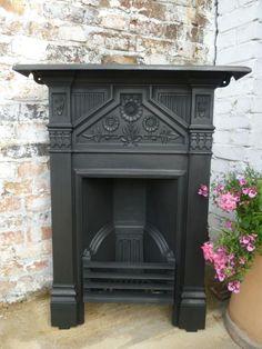 Antique Edwardian Fireplace with sunflower motifs