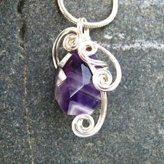 Purple Amethyst Wire Wrapped Pendant Necklace in Silver by CareMoreCreations.com, $29.00