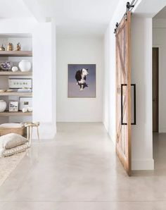 Stained Concrete Floors - Entry Level All - Interior Design Ideas - Atlanta Interior Designer - concrete hallway modern Basement Flooring, Basement Remodeling, Kitchen Flooring, Remodeling Ideas, Basement Ideas, Modern Basement, Flooring Ideas, Basement Plans, Tile Flooring
