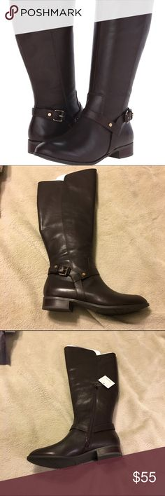 Anne Klein riding boots Anne Klein riding boots.  Chocolate brown soft leather.  New in box, never worn.  They are wide calf, too big for me. Reasonable offers welcome. Anne Klein Shoes Winter & Rain Boots