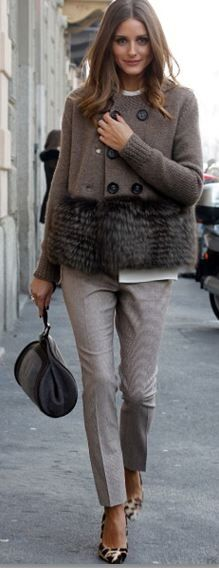 Pants, jacket and top = Agnona  Shoes – Mulberry