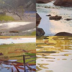 Details of light on water in our Backcountry exhibition. Can you guess the artists? Exhibition continues thru Nov 20.