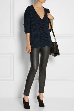 Proenza Schouler|Two-tone cable-knit cashmere sweater|NET-A-PORTER.COM