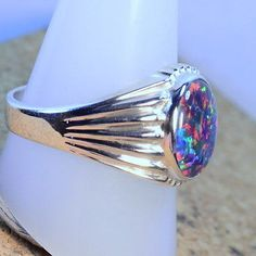 CYMO JEWELRY 925 Sterling Silver Ring Precious Opal Leaf Rings