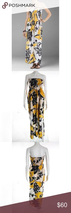 """BCBGMAXAZRIA Yellow Silk Maxi Dress S Strapless.. Bust 34"""" not stretched out.. Lined.. Perfect Condition.. Bundle&Save💕 BCBGMaxAzria Dresses Maxi"""