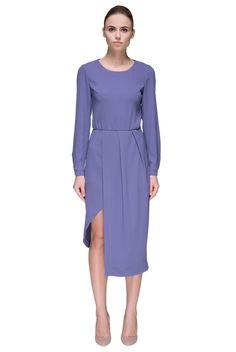 'Lady Violet' Long Sleeve Asymmetric Midi Dress