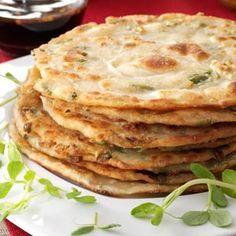 Chinese Scallion Pancakes: flour, water, sesame oil, scallions, salt. Sauce: soy sauce, brown sugar, ginger, rice vinegar, sesame oil, crushed red pepper,