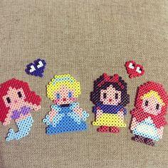 Disney princess perler beads by Hama Beads Disney, Diy Perler Beads, Pearler Beads, Fuse Beads, Pearler Bead Patterns, Bead Loom Patterns, Perler Patterns, Beading Patterns, Pixel Beads