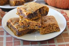 Pumpkin Chocolate Chip Bars - these were a hit! Hint: underbake slightly so they are still a bit gooey - OMG!!!