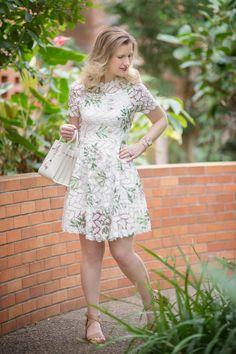 Petite Fashion and Style Blog | Chicwish Wildflower Fresh Crochet Flare Dress