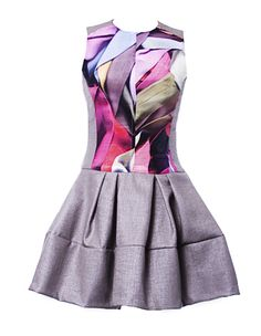 NICOLA FINETTI low waist pleat print dress